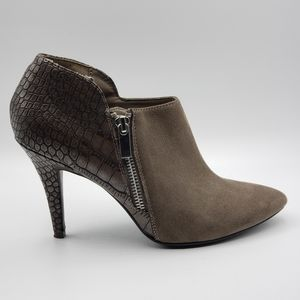 Madeline booties, taupe, faux suede & croc, size 7